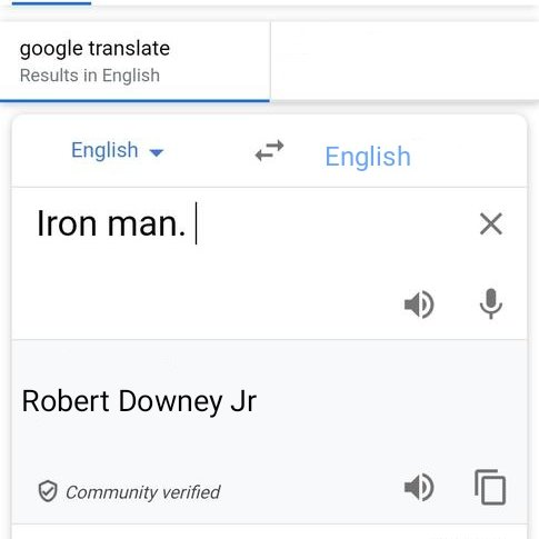 Happy birthday to Robert Downey Jr Google translation results for the word IRON MAN are....