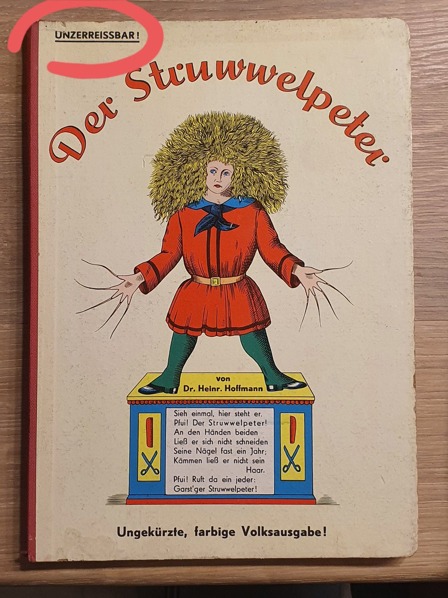 """Yesterday, I came across this old children's book, handed down by my grandparents. It has (reasonably graphic) stories & lessons for kids on how to 'behave'.  It also literally says """"tear-proof"""" on the top left hand corner.  #Germany #Children #book #familypic.twitter.com/P2Rh7kNsjD"""