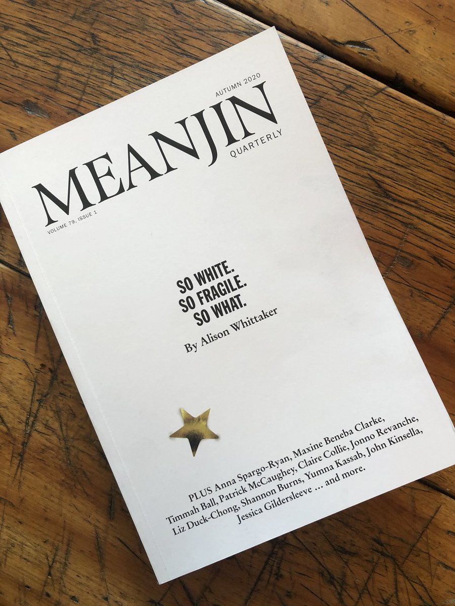 This is an especially good issue of @Meanjin. Loved Ben Walter on embracing the irrelevance of being a Tasmanian writer, @slamup on writing and risk, @peezlered on motherhood & Matt Lewin on being a music therapist in a palliative care setting. pic.twitter.com/IhCXSWXJpI