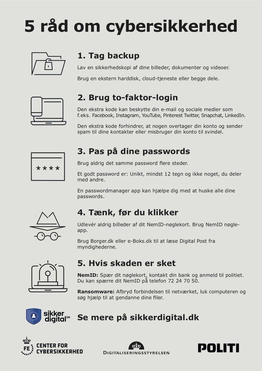 Cyber-corona-kriminelle udnytter coronakrisen med phishing-mails og falske hjemmesider, der lægger sig tæt op af sundhedsmyndigheders hjemmesider og navne. Tænk over, hvor du klikker/færdes på nettet! Forebyggende råd: https://t.co/AOedzp9mK5 - https://t.co/6LmjFNhTho #politidk https://t.co/dYaf86hkzH