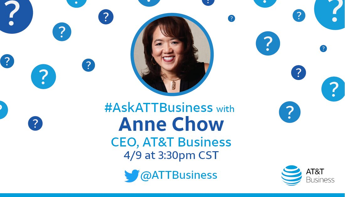 .@TheAnneChow is taking over @ATTBusiness to answer your #business questions. 👏 To submit, post and use #AskATTBusiness   And join us 4/9 at 3:30 pm CT as Anne provides invaluable insights you will not want to miss.   #CEO #takeover