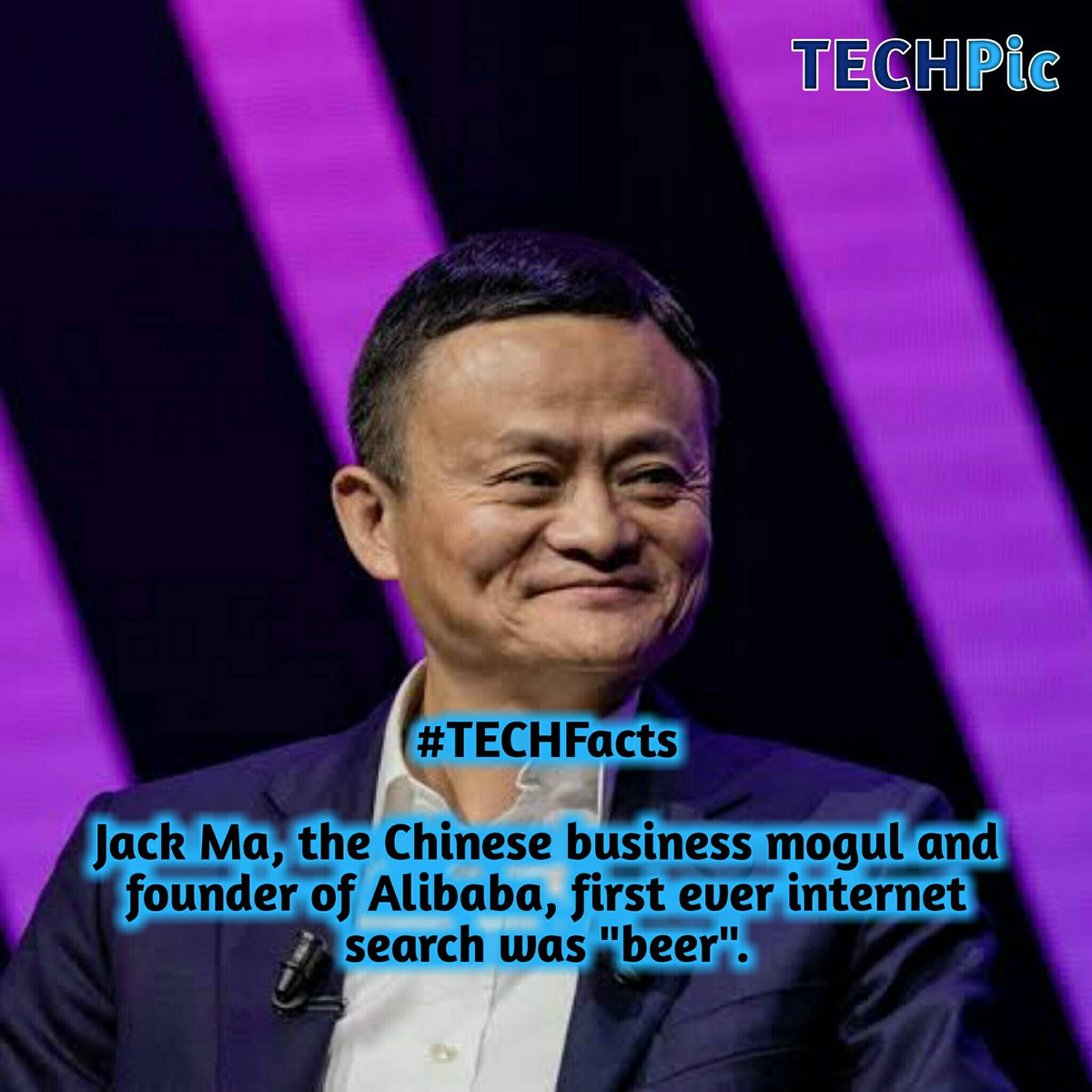 "#TECHFacts  Jack Ma, the Chinese business mogul and founder of Alibaba, first ever internet search was ""beer"". pic.twitter.com/x5VbT5R2d0"