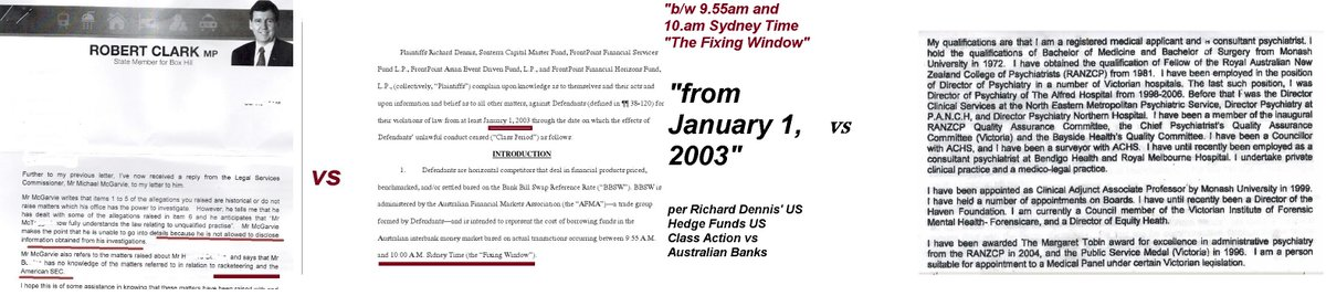 @LorieCole17 Re the exhibits, the Vic govt board's psych has no quals in RICO or rate rigging or the banks misconduct for which Aus banks were sued citing RICO by #TheBigShort 's Richard Dennis. Bank told AGM victims can't prove dates of rigging to their loan too. pic.twitter.com/l6MeIvllJy