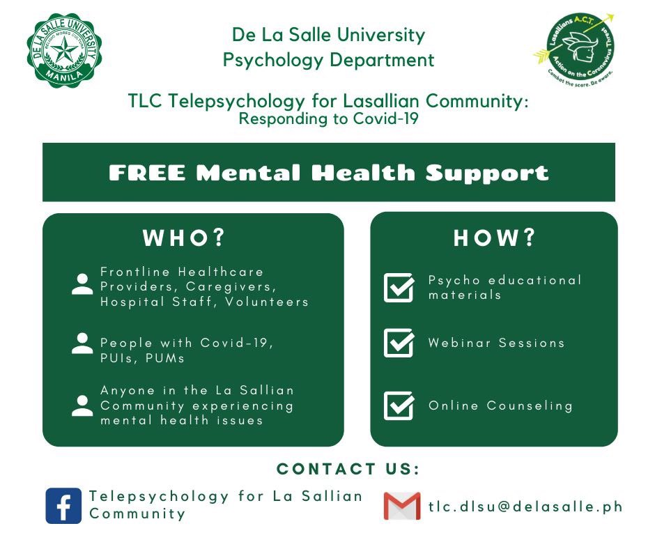 The Psychology Department of De La Salle University in Manila offers free online mental health services for the frontliners, COVID-19 patients, PUIs, PUMs, and anyone in the Lasallian community who are experiencing severe anxiety, stress, and psychological issues... <br>http://pic.twitter.com/Pr3q6yWn1D