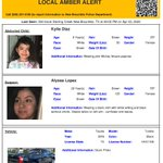 Image for the Tweet beginning: ACTIVE AMBER ALERT for Kylie