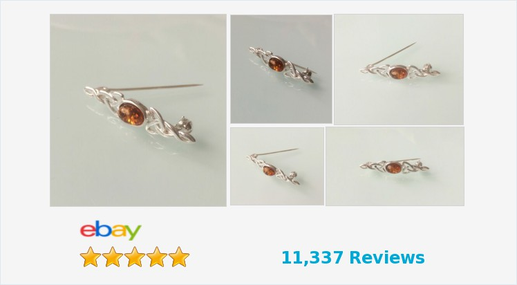 Brand New 925 Sterling Silver Celtic and Amber Brooch and Tie Pin | eBay #sterlingsilver #celtic #amber #brooch #tiepin #jewellery #handmade #accessories #fashion #gifts #giftideas #giftsforher #giftsforhim #scarves #ties #jewelry #jewelryaddict