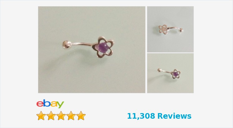 925 Sterling Silver & Surgical Steel Flower Belly Bar with an Amethyst Cabochon | eBay #sterlingsilver #surgicalsteel #amethyst #flower #bellybar #navel #jewellery #bodyjewelry #handmade #gifts #giftideas #accessories #bodypiercing #giftsforher #fashion