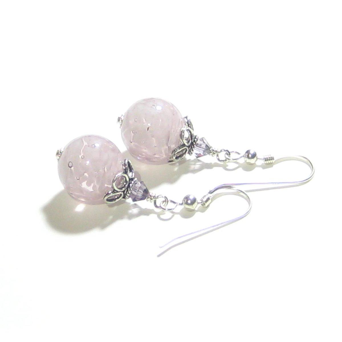 Murano Glass Pale Purple Ball Sterling Silver Earrings  #fashion #murano #etsymntt #earrings #handmade #jewelry