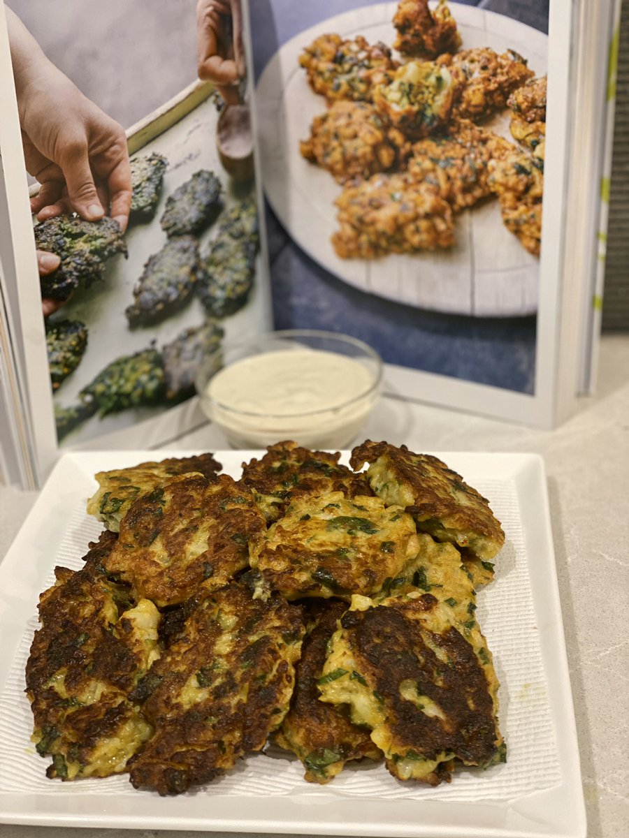 How's your Saturday baking/cooking @DTramma @samrotberg @KylieParkerCA @AdamHarrisCA  I made cauliflower & cumin fritters with tahini dip #yummy