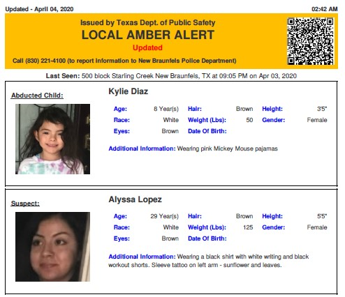 Texas Alerts On Twitter Update Amber Alert For Kylie Marie Diaz From New Braunfels Tx On 04 03 2020 Unknown Vehicle