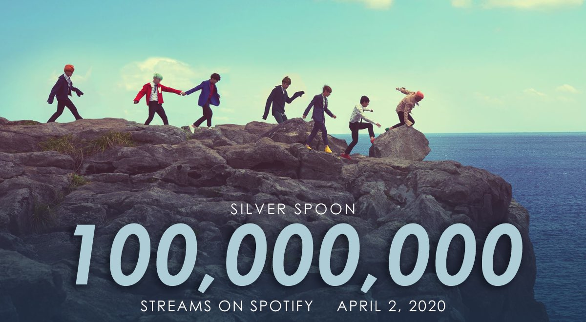 """""""Silver Spoon"""" has surpassed 100 million Spotify streams.    With 27 songs, @BTS_twt is now the group with the most songs over 100 M Spotify streams. <br>http://pic.twitter.com/ATNkK12auD"""
