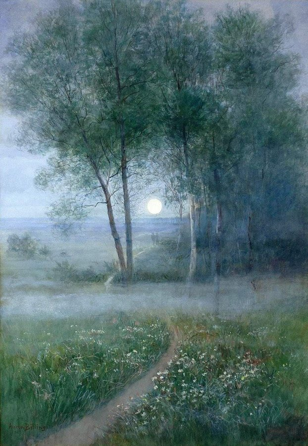 Anna Billing (1849-1927) 'Twilight Landscape with Birches. Lovely relaxing painting from this Swedish artist.
