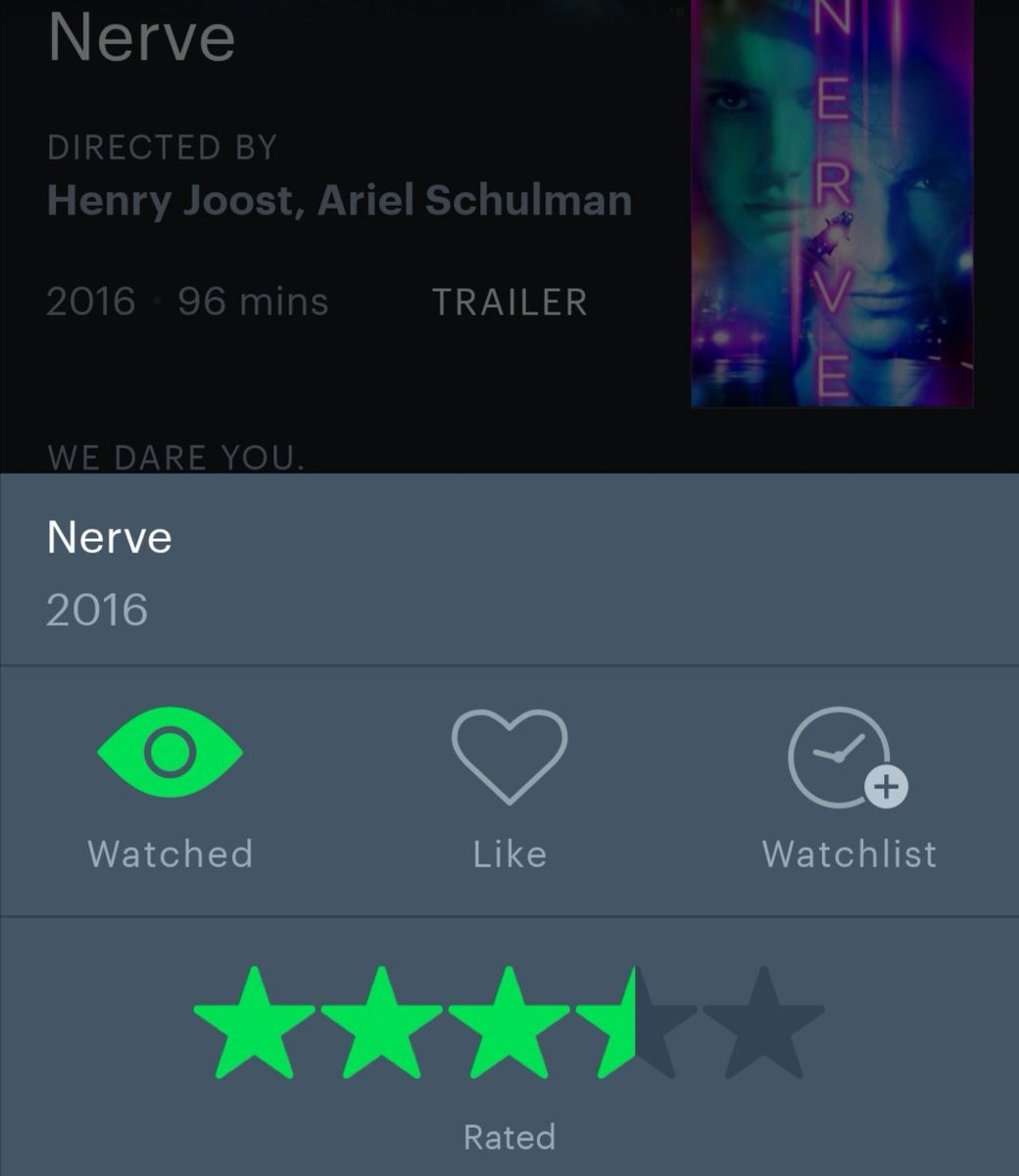 Once again it's quarantine film catch up time. #Nerve is a fun teen thriller that runs fast and plays on the world of social media and internet fame. Visually exciting and just a good time watch. @playnerve #NerveMovie #Film #FilmGeek https://t.co/smP8QGTQE7