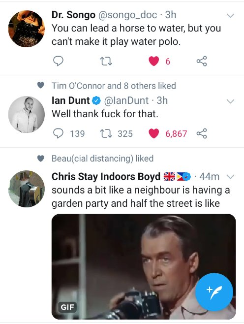 When independent tweets from @songo_doc @IanDunt & @paperghost conspire to entertain.