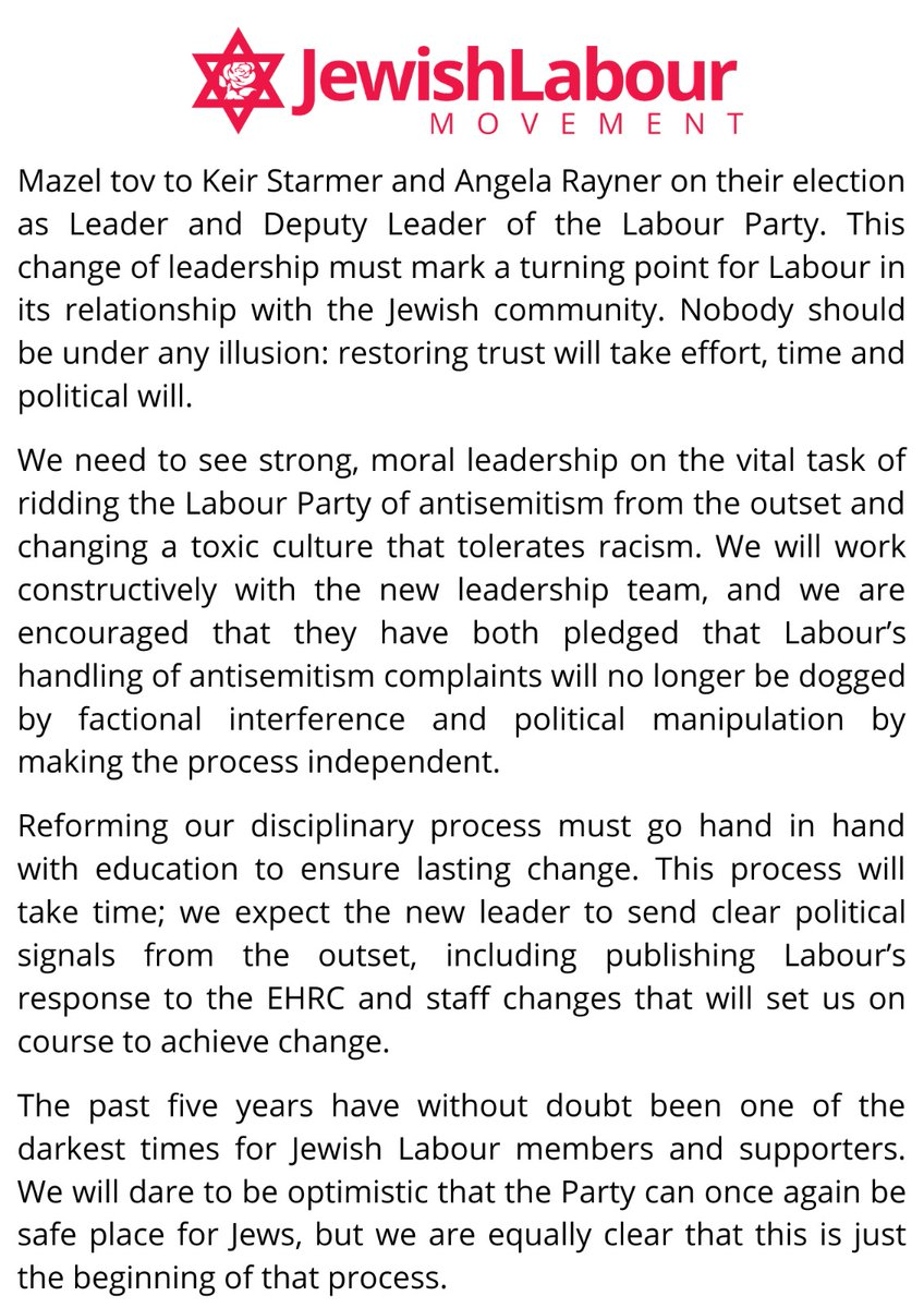 JLM Statement on the Labour Party Leadership Election