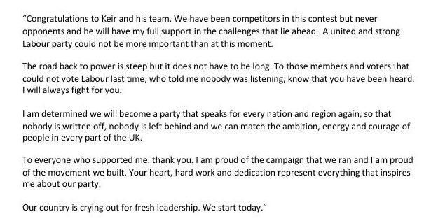Heartfelt congratulations to @Keir_Starmer and @AngelaRayner. We will move forward together