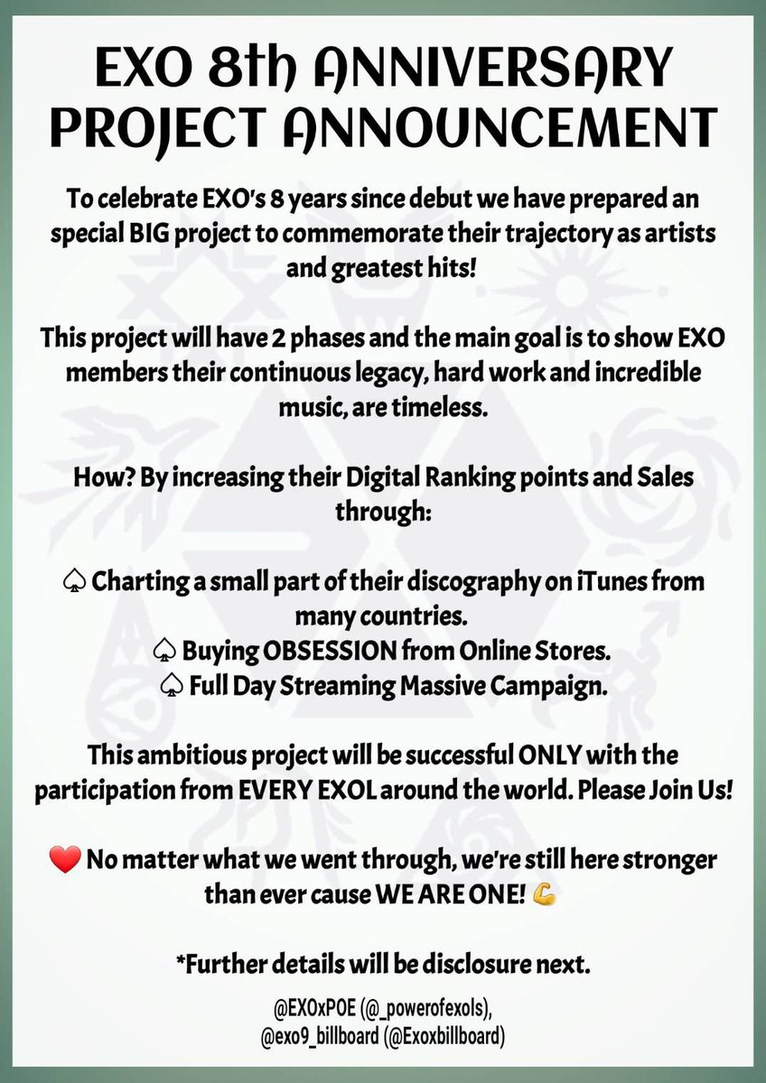 「EXO 8TH ANNIVERSARY PROJECT」  EXOLs~ We have planned below as one of our projects for #EXO's 8th anniversary!  Please read the pic carefully & help us spread this information in order to make our celebration successful.  We will release more info at 10pm KST  @weareoneEXO<br>http://pic.twitter.com/JUeX5LOiLB