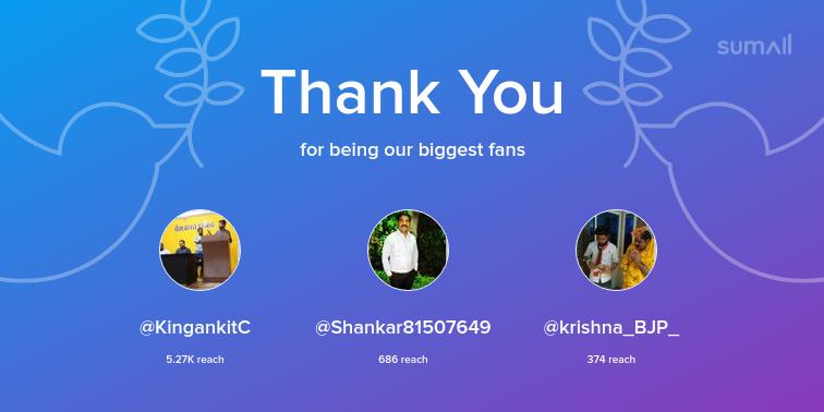 Our biggest fans this week: KingankitC, Shankar81507649, krishna_BJP_. Thank you! via https://sumall.com/thankyou?utm_source=twitter&utm_medium=publishing&utm_campaign=thank_you_tweet&utm_content=text_and_media&utm_term=219737a724f3e7a47fd9935f…pic.twitter.com/TBuAHoBq2b
