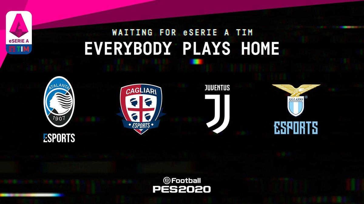 🎮Waiting for #eSerieATIM 🏠Everybody plays home ⚽@AtalantaEsports vs @CC1920eSports vs @juventusfcen vs @OfficialSSLazio  ⏰Kick off: Tomorrow, 4PM CEST  @officialpes #PES2020 #Waitingfor #EverybodyPlaysHome