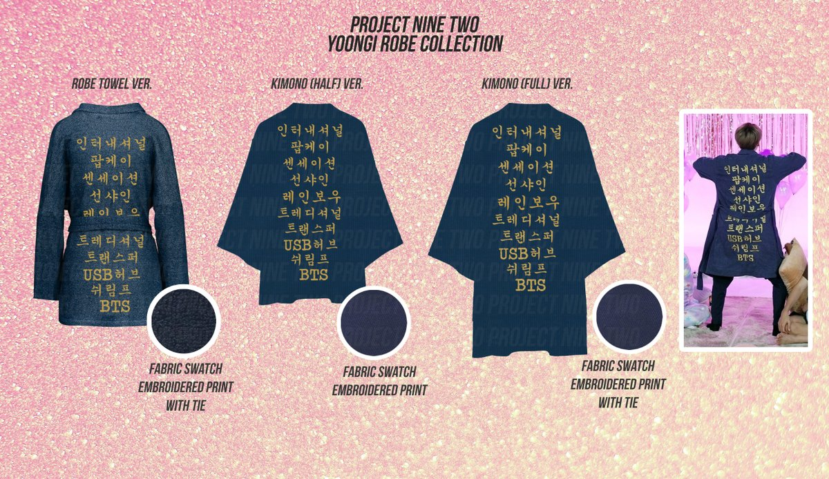 PROJECT NINE TWO  Yoongi Robe Collection  Php 350 - Php 2400 (8 USD to 49 USD)  Shipping internationally through EMS.  For group orders, please DM.  More details in the replies.  Deadline of pre-order/payments: May 3, 2020  Order Link:  https:// forms.gle/qr4mr7jq8ZBLFP 5X8  …   Thank you!<br>http://pic.twitter.com/qqaClyi7oh