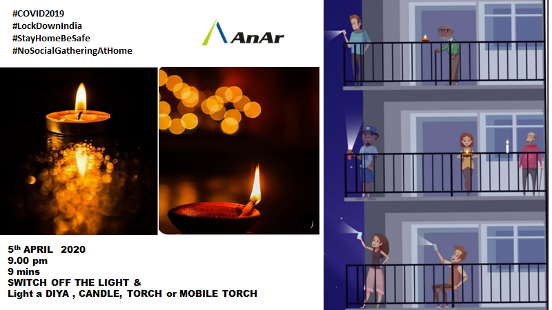 '9 Minutes of Darkness to Light' Let's switch off all lights of our homes for 9 minutes at 9 pm.  http://anarsolutions.com/?utm-source=Twitter…  #StayHomeStaySafe #StayHomeIndia #StayHomeSaveLives #StaySafe #SafeHands #SafeAtHome #SafeDistance #StayHomeBands #CoronavirusLockdown #covid19