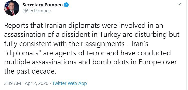 Iran's Foreign Ministry spokesman Abbas Mousavi rejecting Pompeo/US accusation of plotting the murder of Vardanjani, an Iranian dissident killed last November in Istanbul.