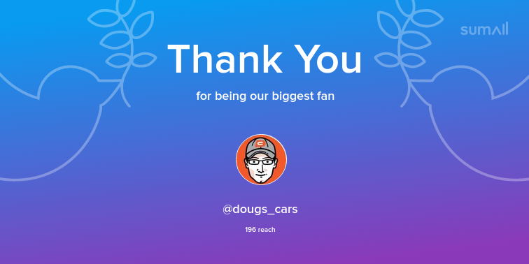 Our biggest fans this week: dougs_cars. Thank you! via sumall.com/thankyou?utm_s…