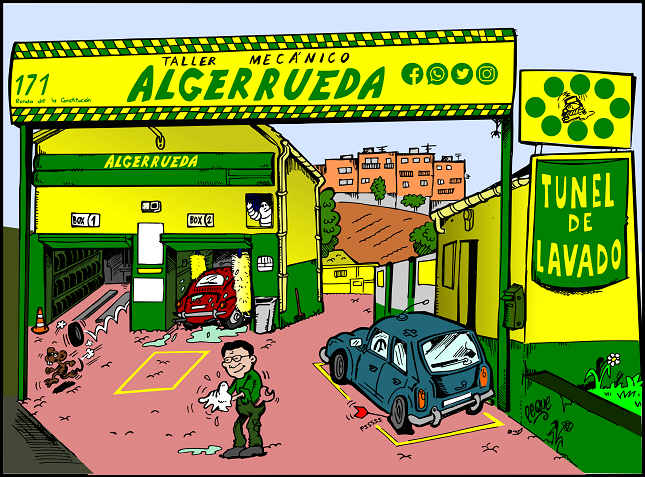 📅 Día 21 del estado de alarma. 🚗🔧 Ilustración por encargo de #Algerrueda.  Trabajo mixto: Dibujo a lápiz, tinta y coloreado digitalmente. (en breve habrá fotos del proceso) #YoMeQuedoEnCasa ¡Espero que os guste! https://t.co/1RKuHMhvQO