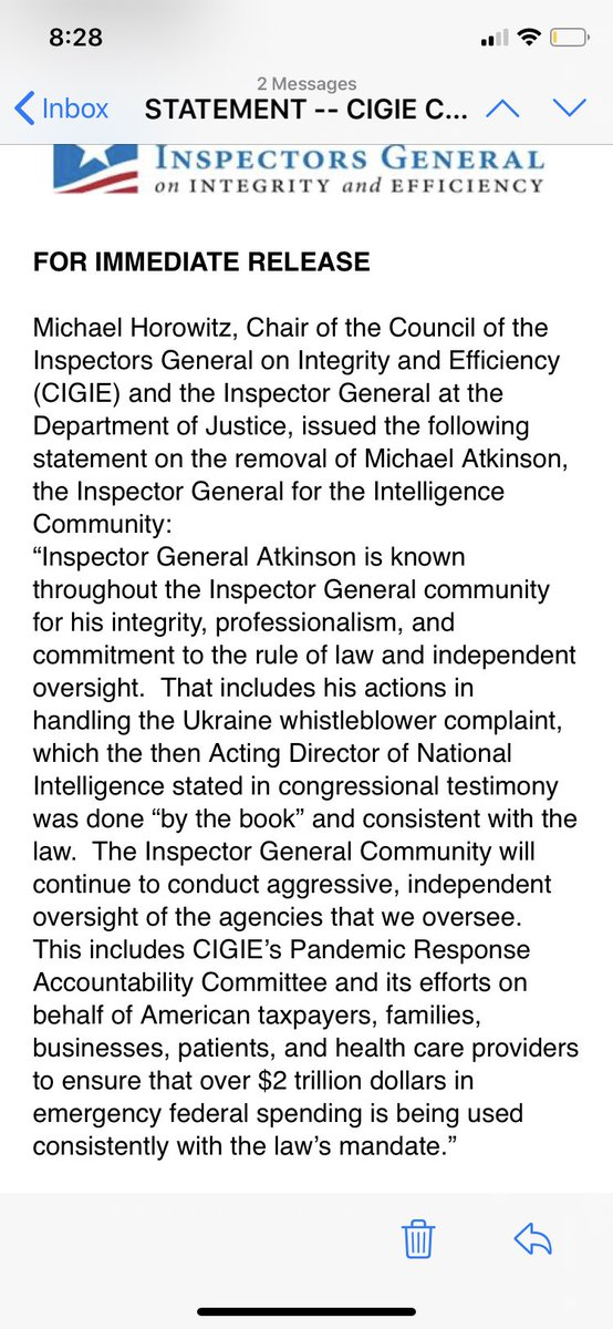 """#Ukraine IG Horowitz statement on removal ICIG Atkinson """"...is known ...for his integrity, professionalism..That includes his actions in handling the Ukraine whistleblower complaint, which the then Acting DNI stated in congressional testimony was done """"by the book"""" @CBSNewspic.twitter.com/B55u0pZV3b"""