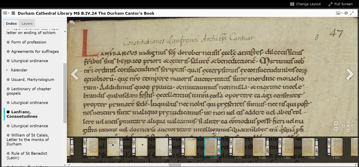 Today is the feast of Lanfranc, Archbishop of Canterbury 1070-89. The Durham Cantor's Book (MS B.IV.24) contains the best preserved copy of his influential Monastic Constitutions (a guide to monastic life), written c.1077. iiif.durham.ac.uk/index.html?man… #OnThisDay #OTD #MedievalTwitter