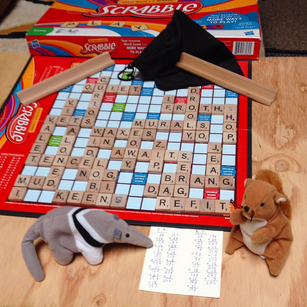 Rufus #squirrel wins a #game of #Scrabble with Edgar Allen #anteater, 255 to 244. (These matches are always close for some reason.) As the winner, he gets to have a nap in the empty tile bag. #boardgames #toys #stuffedanimals #wordgamespic.twitter.com/lvcmPA5dJ2