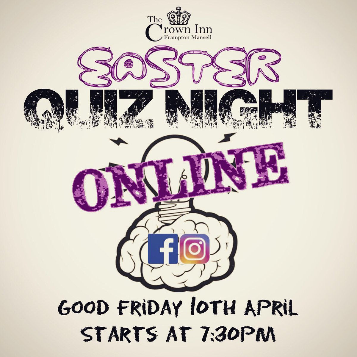 IT'S BACK!!!  After the success of last week, we thought we'd do it again! Join us next Friday for an Easter Extravaganza! #quiz #quiznight #lockdown #covid_19 #isolation #StayHomeSaveLives #isolationentertainment #stayhome #framptonmansell #thecrowninn #cotswoldspic.twitter.com/G7ZnoFKIu2