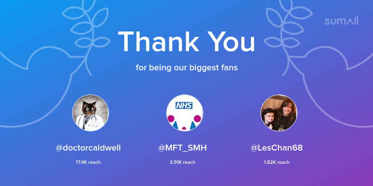 Our biggest fans this week: doctorcaldwell, MFT_SMH, LesChan68. Thank you! via sumall.com/thankyou?utm_s…