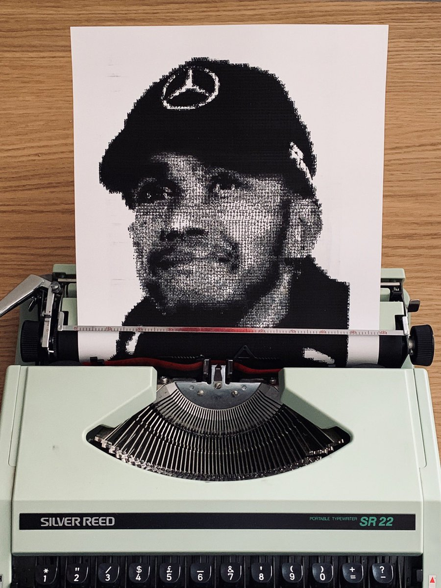 I'm staying in and I'm staying occupied! I'm not the best letter-writer so this weekend I typed this picture of six-time F1 World Champion @LewisHamilton on a typewriter (well, why not!). 2nd pic shows a closer look. I hope you like it! Stay safe, stay in, stay healthy. https://t.co/b4HXYuOPyK