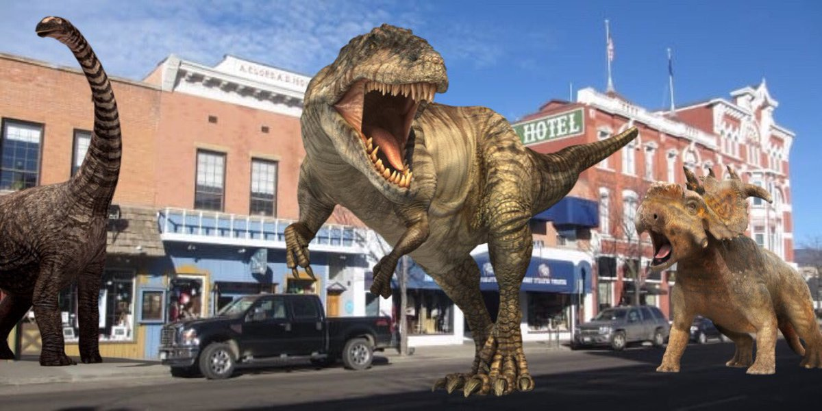 Wow. This is the city Dinosaur, Colorado today where the city's namesake has returned for the first time since 1813. The earth is healing, we are the virus