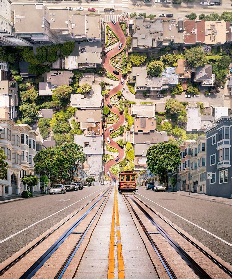 San Francisco's Lombardy Street Flipped upside down. #travel #architecture #sf pic.twitter.com/e9EI4OJPx4
