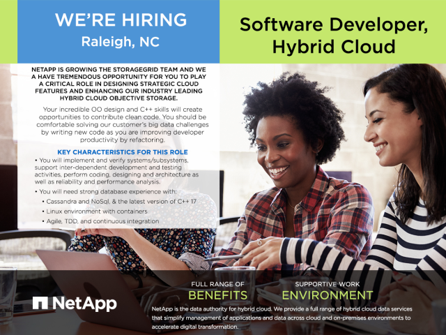 .@NetApp is hiring a #SoftwareDeveloper for its #Raleigh location. If you're interested in designing strategic #cloud features, this role could be for you! Check out the description and apply today. #LifeAtNetApp https://ntap.com/2x2jYoqpic.twitter.com/l1oGhQAvgE