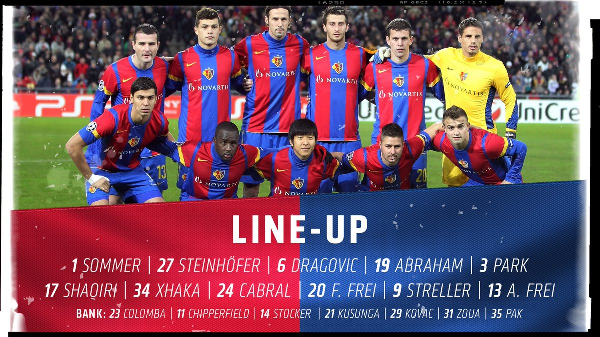 Our starting-XI for tonight's game. Kick-off in just under an hour. #FCBasel1893 #zämmestark #FCBManUtd<br>http://pic.twitter.com/CVaRMPK9KC