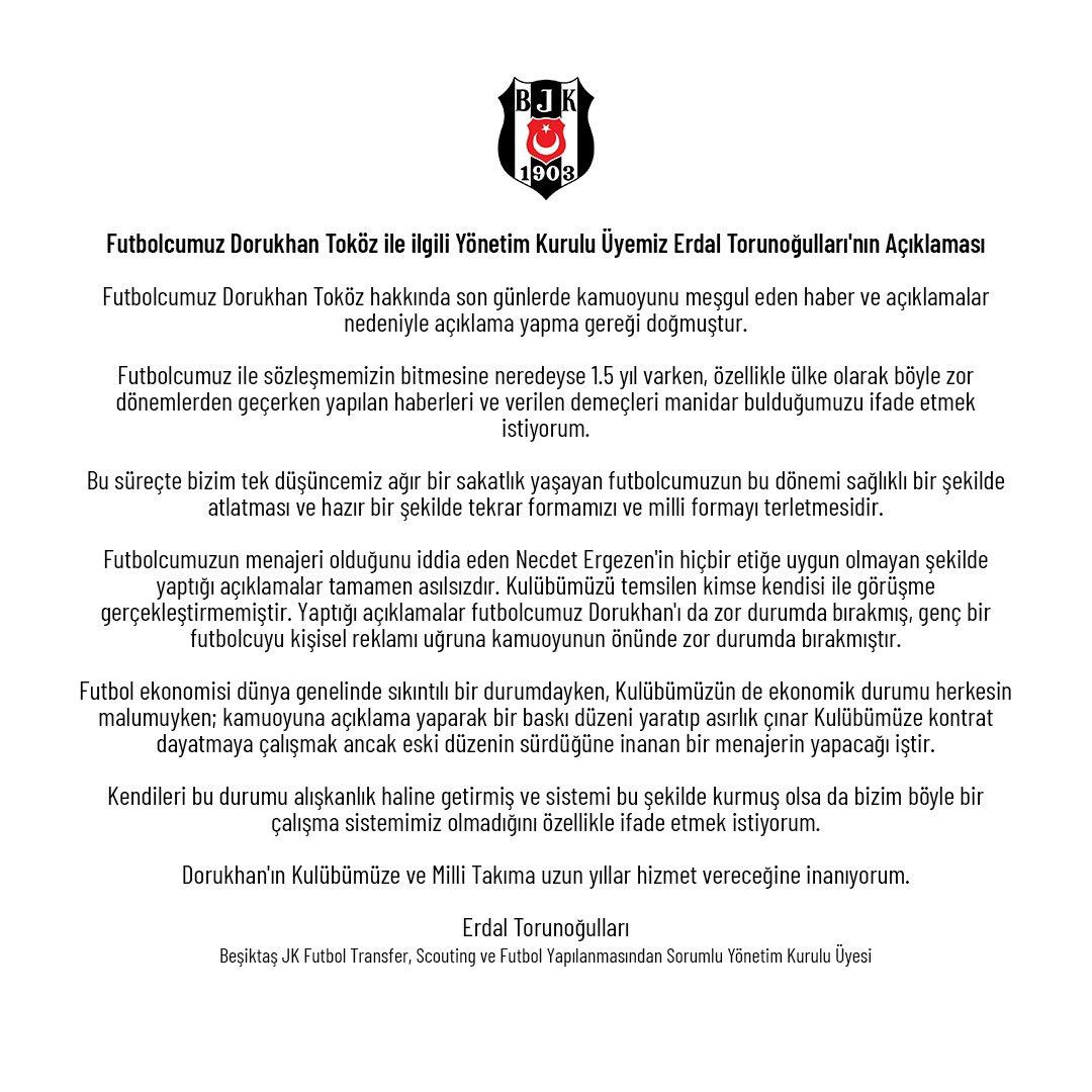 Yönetim Kurulu Üyemiz Erdal Torunoğulları'nın Futbolcumuz Dorukhan Toköz İle İlgili Açıklaması 👉🏻 https://t.co/H7eVB8M1Du https://t.co/lvZbsQFd8g