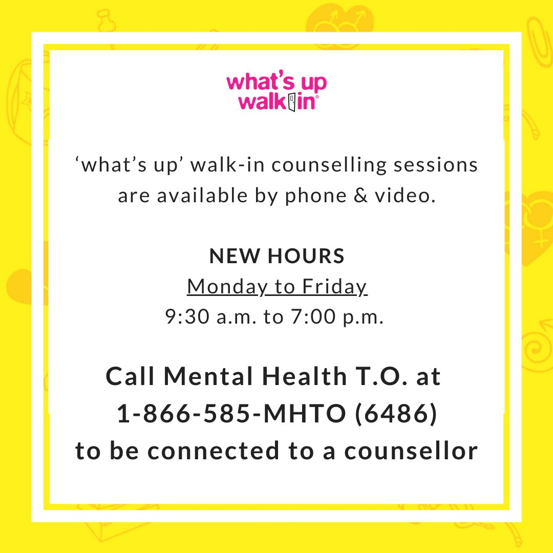 Starting Monday, #whatsupwalkin clinics will have 1 centralized phone number that clients can call to be connected to a counsellor for a phone or video session at any of our 6 locations.   We've also expanded our hours to serve you better.   Stay Safe. Stay Home.