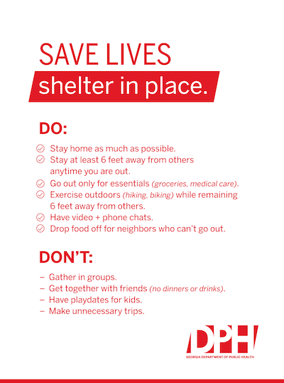 Gadeptpublichealth On Twitter During The Shelter In Place Order