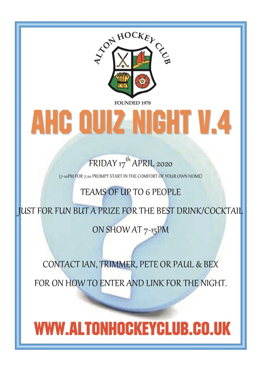 Household Virtual Quiznight is here! On the 17th April we'll be hosting a quiz night online. Contact Soggy, Pete, Trimmer for details pic.twitter.com/yQHNhtaIGw