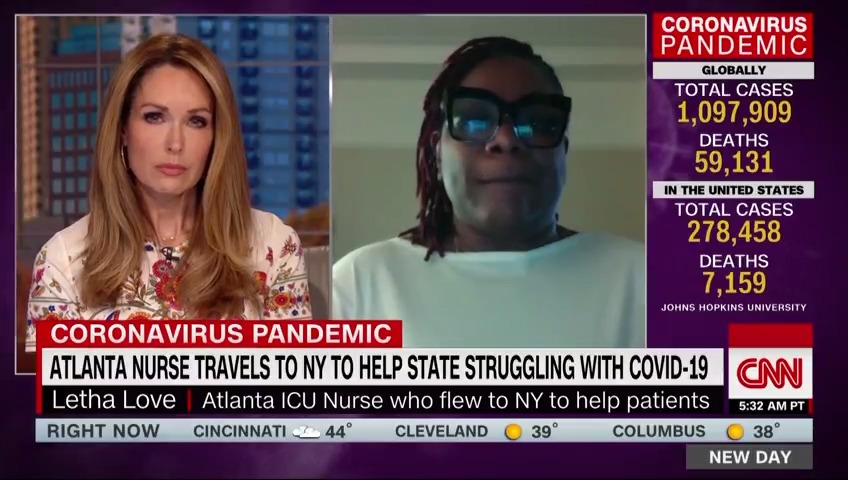 "Nurse Letha Love traveled to New York from Atlanta to help with the coronavirus pandemic. She says she was shocked by the number of patients and the severity of the crisis.  ""It is a lot. I have run into so many nurses crying … It is emotionally draining""  https://cnn.it/34hzEjW"