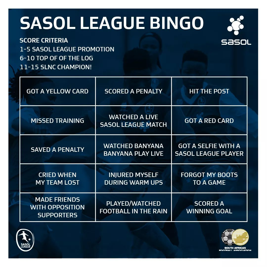 Time for a little bit of #SasolLeague Bingo.  Are you a promoted, top of the log or a #SasolLeagueNationalChamps Champion?   Let us know how many out of 15 you got!  #Limitless<br>http://pic.twitter.com/IyAaks3zjJ