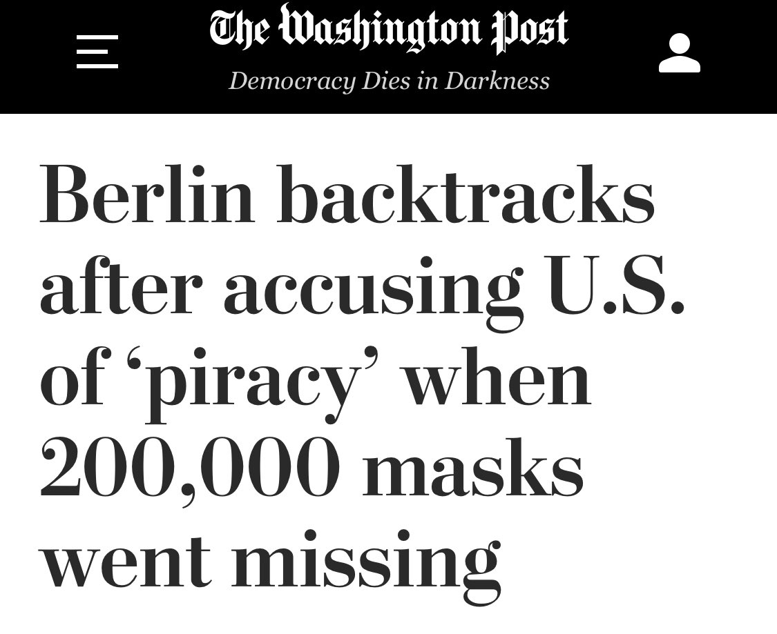 """.@washingtonpost: """"A #Berlin official, who accused the U.S. administration of """"piracy"""" after 200,000 #masks for the city police went missing, backtracked Saturday and said the masks were ordered from a #German firm."""" https://www.washingtonpost.com/world/2020/04/04/coronavirus-latest-news/#link-GQ4VHJ7T2ZGQPD3VUWO5W6QZRU…pic.twitter.com/6MqOUQh4s6"""