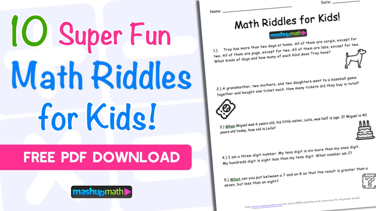 Mashup Math On Twitter Your Kids Are Going To Love This Free Challenging Math Riddles And Brain Teasers Worksheet Https T Co Lkguf5dl4u Answer Key Included Elemmathchat Https T Co Ptykglq098