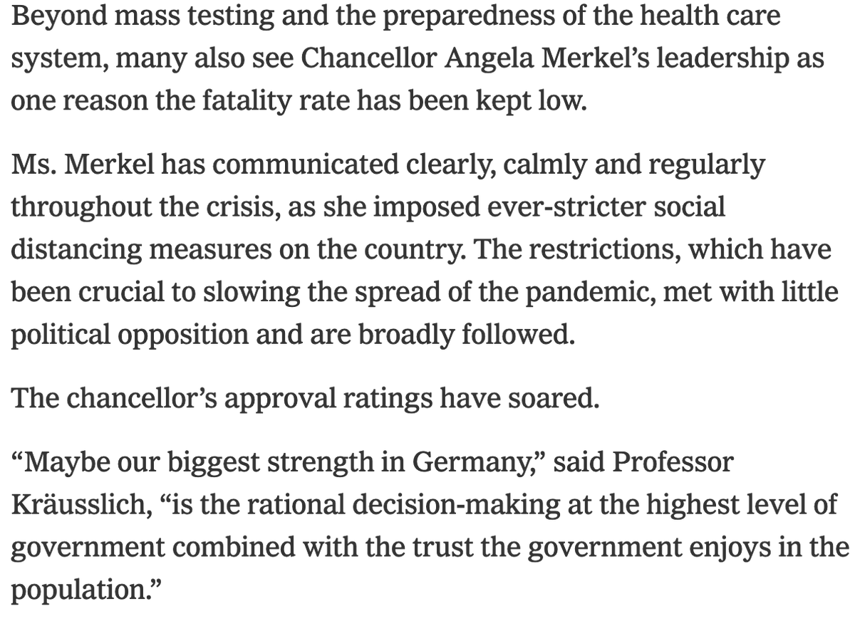 Reading the end of the NYT account of why German fatalities are so low is enough to make Americans weep