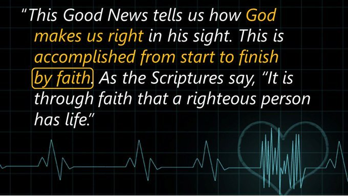 This #GoodNews  tells us how #God  makes us right in his sight.  This is accomplished from start to finish by #faith .  (from Romans 1:17 NLT)