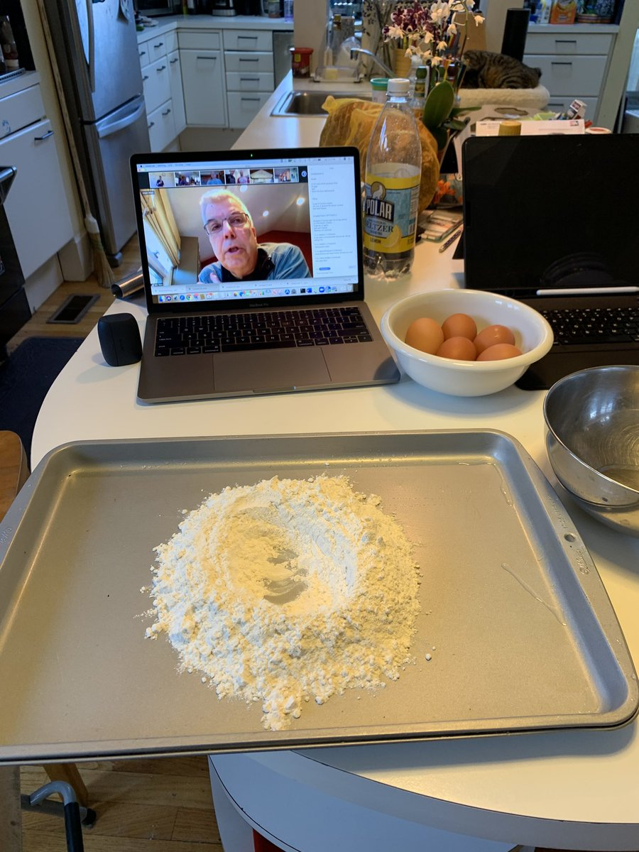 ⁦@The_BMC⁩ dept of #pediatrics having a #Saturday zoom masterclass in pasta making by the one and only ⁦@bvincibmc⁩ ! He lead us through this like the top chef (chief?) he is! #bmcResilience!  Tortellini with a fab arugula pesto. Delish!pic.twitter.com/CoSknGiuNm