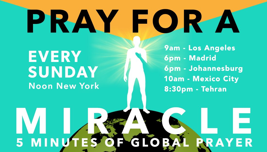 Join people all over the world for five minutes of silent prayer and meditation, Sunday and every Sunday, noon in New York City and 4pm in Reykjavík.pic.twitter.com/zssXU821TM